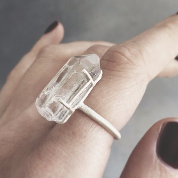 Clear Crystal Quartz Ring