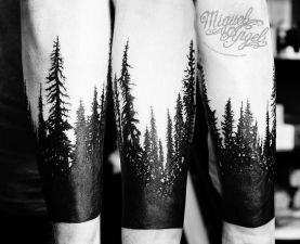 Sulhouette-Forest-Tattoo-On-Arm-by-Miguel-Angel